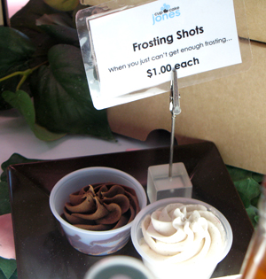 Frosting shots at Cupcake Jones